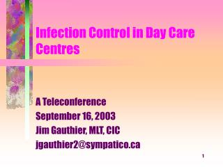 Infection Control in Day Care Centres