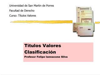 T�tulos Valores Clasificaci�n Profesor Felipe Iannacone Silva