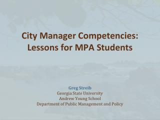 City Manager Competencies: Lessons for MPA Students