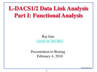 L-DACS1/2 Data Link Analysis Part I: Functional Analysis