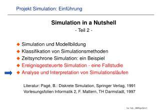 Projekt Simulation: Einf hrung