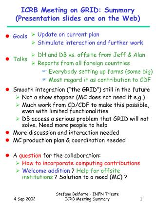 ICRB Meeting on GRID: Summary (Presentation slides are on the Web)