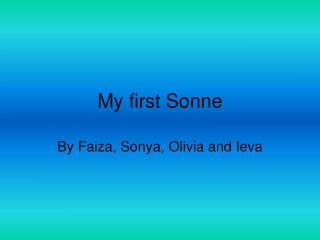 My first Sonne