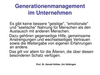 Generationenmanagement  im Unternehmen