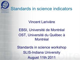 Standards in science indicators