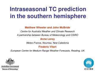 Intraseasonal TC prediction in the southern hemisphere