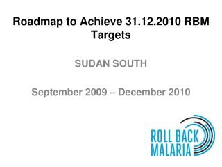 Roadmap to Achieve 31.12.2010 RBM Targets
