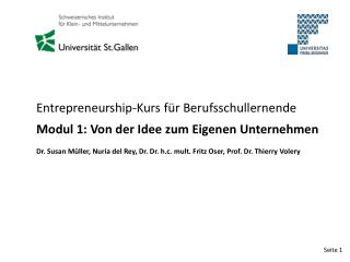 Entrepreneurship-Kurs für Berufsschullernende Modul 1: Von der Idee zum Eigenen Unternehmen