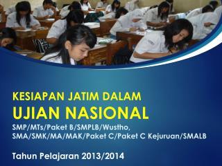 Persiapan Pelaksanaan Ujian Nasional Tahun 2013/2014 di Jawa Timur