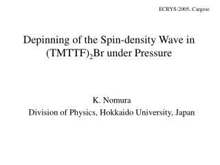 Depinning of the Spin-density Wave in (TMTTF) 2 Br under Pressure