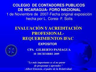 EVALUACIÒN Y ACREDITACIÒN PROFESIONAL- REQUERIMIENTOS IFAC