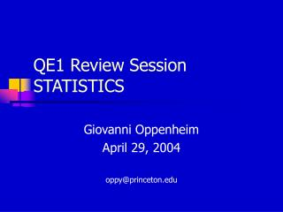 QE1 Review Session  STATISTICS