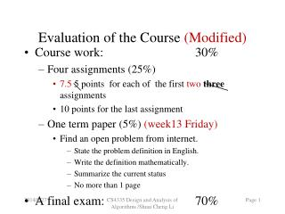 Evaluation of the Course  (Modified)