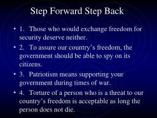 Step Forward Step Back