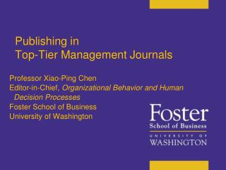 Publishing in  Top-Tier Management Journals  in top-tier management journals