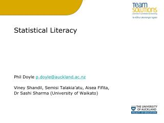 Statistical Literacy Phil Doyle  p.doyle@auckland.ac.nz