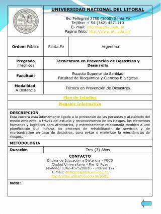 ARGENTINA Oferta academica