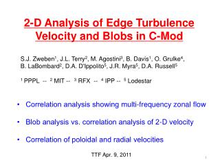 2-D Analysis of Edge Turbulence Velocity and Blobs in C-Mod