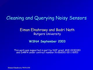 Cleaning and Querying Noisy Sensors