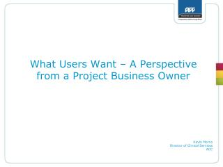 What Users Want – A Perspective from a Project Business Owner