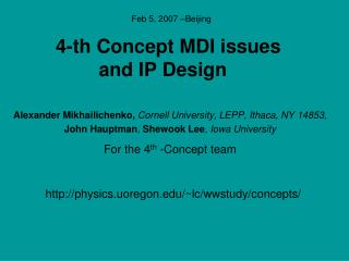 4-th Concept MDI issues and IP Design