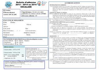 Bulletin d'adhésion 2013 – 2014 ou 2014 ESCALADE