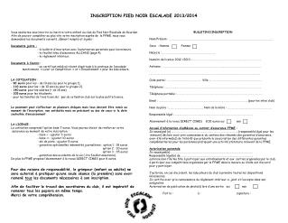 INSCRIPTION PIED NOIR ESCALADE 2013/2014