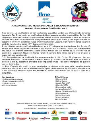 CHAMPIONNATS DU MONDE D' ESCALADE  & ESCALADE HANDISPORT