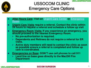 USSOCOM CLINIC Emergency Care Options