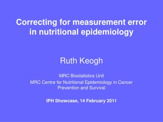 Correcting for measurement error in nutritional epidemiology