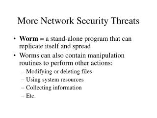 More Network Security Threats