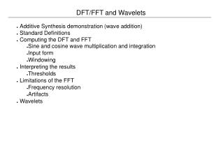 DFT/FFT and Wavelets