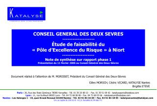 Document réalisé à l'attention de M. MORISSET, Président du Conseil Général des Deux-Sèvres