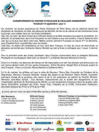 CHAMPIONNATS DU MONDE D' ESCALADE  & ESCALADE HANDISPORT Vendredi 14 septembre –jour 3