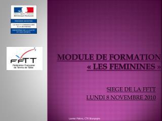 MODULE DE FORMATION  «LES FEMININES»