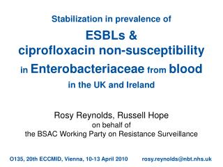 Stabilization in prevalence of   ESBLs   ciprofloxacin non-susceptibility  in Enterobacteriaceae from blood in the UK an