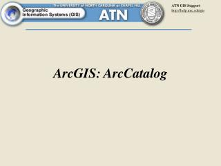 ArcGIS: ArcCatalog