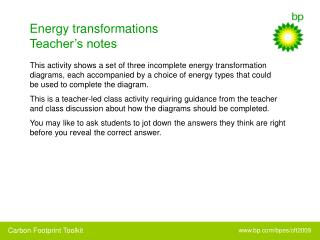 Energy transformations Teacher's notes