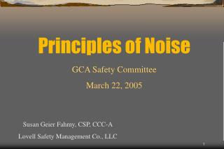 Principles of Noise
