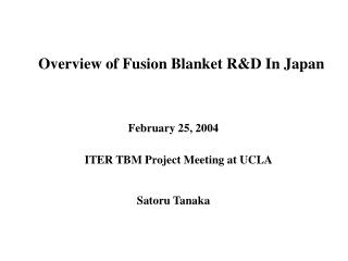 Overview of Fusion Blanket R&D In Japan