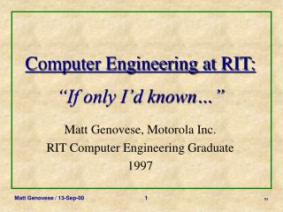 Computer Engineering at RIT:   If only I d known