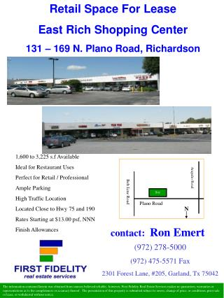 Retail Space For Lease East Rich Shopping Center  131 – 169 N. Plano Road, Richardson