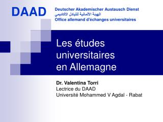 Les études universitaires  en Allemagne
