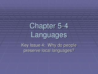 Chapter 5-4 Languages