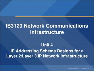 IS3120 Network Communications Infrastructure Unit 4