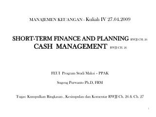 SHORT-TERM FINANCE AND PLANNING  RWJJ CH. 26