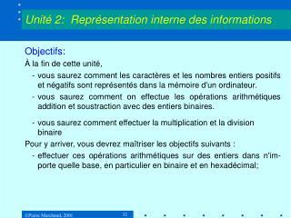 Unité 2:  Représentation interne des informations