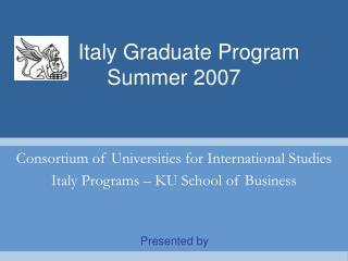 Italy Graduate Program     Summer 2007