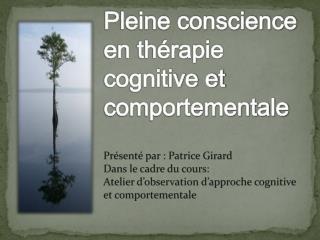 Pleine conscience en th�rapie cognitive et comportementale