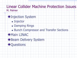 Linear Collider Machine Protection Issues M. Palmer